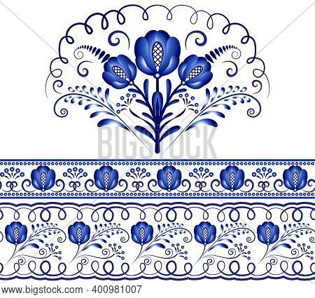 Ethnic Folk Art Seamless Pattern With Flowers, Traditional Floral Frame Or Border Design. Decorative