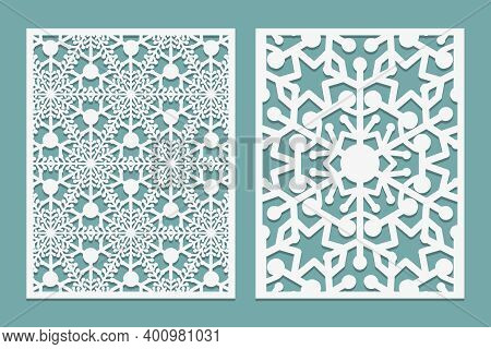 Die And Laser Cut Intricate Panels With Snowflakes Pattern. Laser Cutting Lace Borders. Invitation A