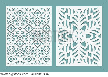 Die And Laser Cut Ornamental Panels With Snowflakes Pattern. Laser Cutting Lace Borders. Invitation