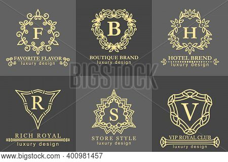 Stylish Luxury Logo Set Calligraphic Ornate Monogram Design For Hotel Spa, Restaurant Vip Fashion An