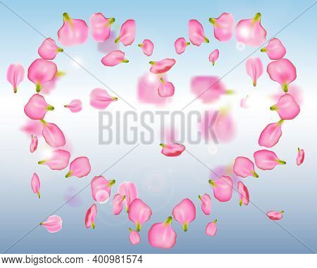 Falling Pink Petals From A Rose Or Peony In The Shape Of A Heart On Background Blue Sky. Romantic Fr
