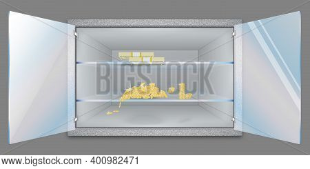 Open Shelf With Gold Coins And Banknotes. Storage Of Cash And Valuable Items. Banking Concept. Start