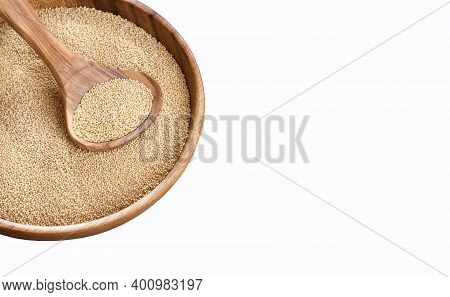 Organic Amaranth Seeds In The Wooden Bowl - Amaranthus