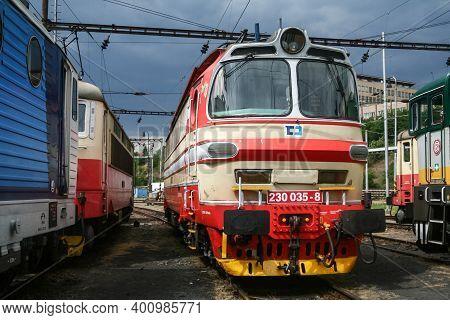 Brno, Czechia - June 21, 2014: Electric Locomotive Class 230, From Cd Cargo Czech Railways On Standb