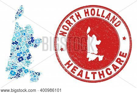 Vector Mosaic North Holland Map With Inoculation Icons, Receipt Symbols, And Grunge Doctor Rubber Im