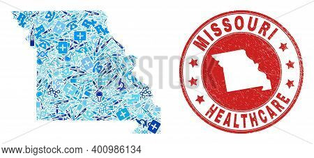 Vector Mosaic Missouri State Map Of Injection Icons, First Aid Symbols, And Grunge Health Care Impri
