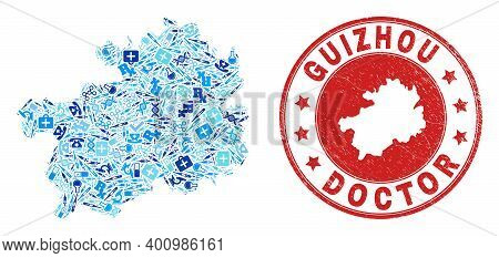 Vector Mosaic Guizhou Province Map With Dose Icons, Hospital Symbols, And Grunge Doctor Stamp. Red R