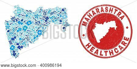 Vector Mosaic Maharashtra State Map Of Dose Icons, Labs Symbols, And Grunge Healthcare Rubber Imitat