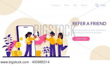 Refer A Friend Modern Illustration Concept. Businesswoman Shout On Megaphone With Refer A Friend Wor