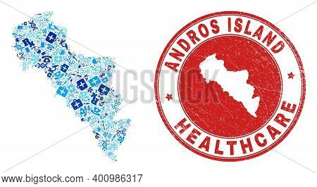Vector Mosaic Andros Island Of Greece Map With Dose Icons, Test Symbols, And Grunge Health Care Rubb
