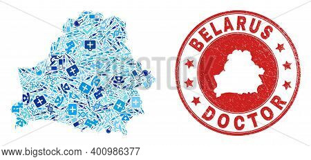 Vector Mosaic Belarus Map With Medical Icons, Hospital Symbols, And Grunge Healthcare Seal Stamp. Re