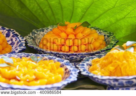 Closeup Of Artificial Thai Desserts,set Thai Sweetmeat Dessert Made From Egg And Sugar ,thai Dessert