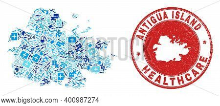 Vector Mosaic Antigua Island Map With Dose Icons, Receipt Symbols, And Grunge Healthcare Watermark.