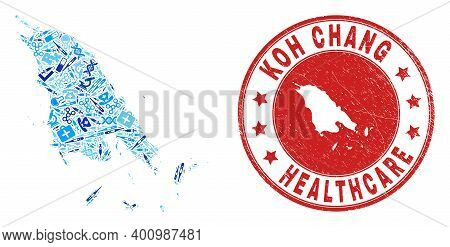 Vector Mosaic Koh Chang Map With Dose Icons, Analysis Symbols, And Grunge Healthcare Rubber Imitatio