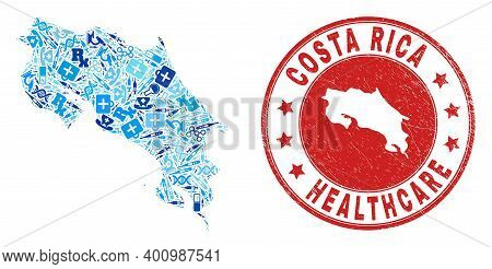 Vector Collage Costa Rica Map With Syringe Icons, Chemical Symbols, And Grunge Healthcare Seal Stamp