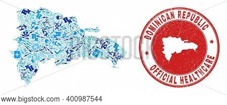 Vector Collage Dominican Republic Map With Inoculation Icons, Chemical Symbols, And Grunge Health Ca