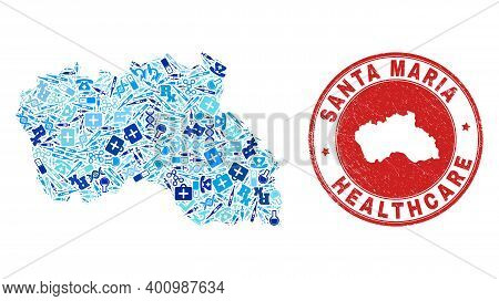 Vector Mosaic Santa Maria Island Map With Vaccine Icons, Test Symbols, And Grunge Doctor Watermark.
