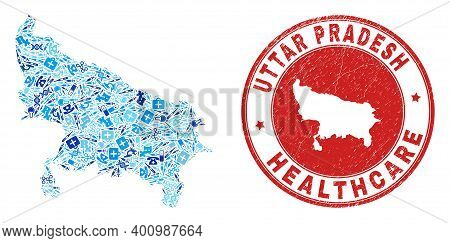 Vector Mosaic Uttar Pradesh State Map With Healthcare Icons, Test Symbols, And Grunge Healthcare Imp