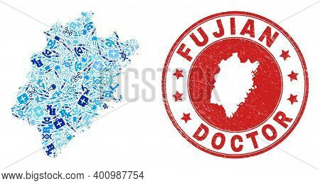 Vector Collage Fujian Province Map With Healthcare Icons, Analysis Symbols, And Grunge Doctor Rubber