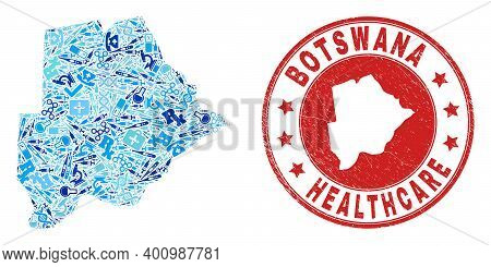 Vector Collage Botswana Map Of Syringe Icons, Medicine Symbols, And Grunge Health Care Seal. Red Rou