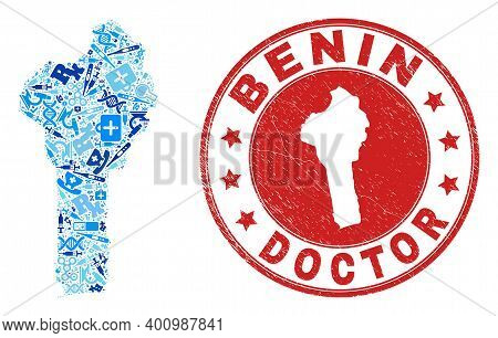Vector Collage Benin Map With Dose Icons, Analysis Symbols, And Grunge Doctor Rubber Imitation. Red