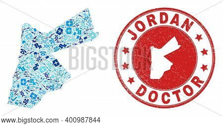 Vector Mosaic Jordan Map With Vaccination Icons, Hospital Symbols, And Grunge Healthcare Imprint. Re