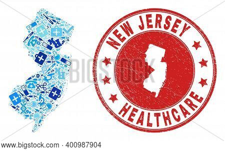 Vector Collage New Jersey State Map With Treatment Icons, Hospital Symbols, And Grunge Doctor Rubber