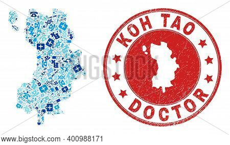 Vector Mosaic Koh Tao Map With Healthcare Icons, Analysis Symbols, And Grunge Healthcare Rubber Imit
