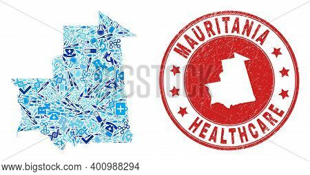 Vector Collage Mauritania Map With Treatment Icons, Chemical Symbols, And Grunge Healthcare Seal Sta