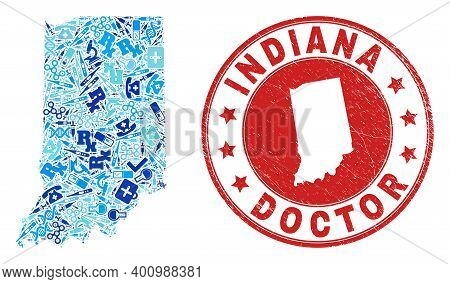 Vector Mosaic Indiana State Map With Vaccination Icons, Receipt Symbols, And Grunge Healthcare Seal