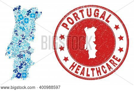Vector Collage Portugal Map With Treatment Icons, Medicine Symbols, And Grunge Doctor Seal. Red Roun