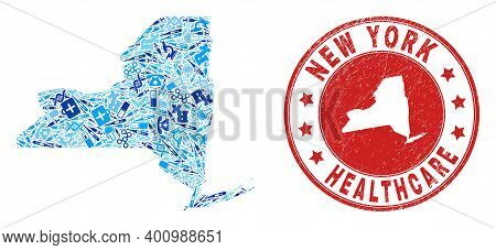 Vector Mosaic New York State Map With Healthcare Icons, Hospital Symbols, And Grunge Healthcare Wate