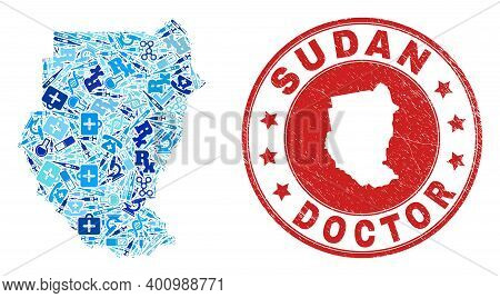 Vector Mosaic Sudan Map With Vaccination Icons, Labs Symbols, And Grunge Healthcare Seal Stamp. Red