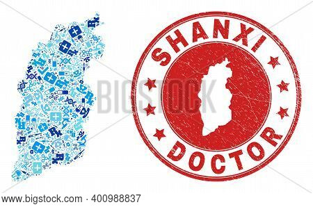 Vector Collage Shanxi Province Map With Healthcare Icons, Laboratory Symbols, And Grunge Health Care