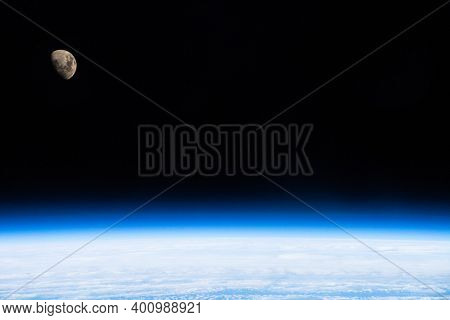 Open Dark Space In The Stratosphere Earth And The Moon Elements Of This Image Furnished By Nasa 3d I