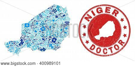 Vector Collage Niger Map With Syringe Icons, Analysis Symbols, And Grunge Healthcare Watermark. Red