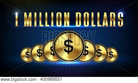 Abstract Background Of Stock Market 1 Million Dollars And Golden Dollar Coin