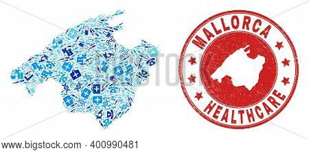 Vector Mosaic Mallorca Map With Syringe Icons, Medicine Symbols, And Grunge Health Care Seal Stamp.