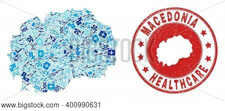 Vector Mosaic Macedonia Map With Treatment Icons, Medicine Symbols, And Grunge Doctor Imprint. Red R