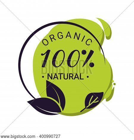 Guaranteed Organic Natural Stamp. Vector Nutrition Sticker Eco Stamp, Friendly Healthy Quality Tag,