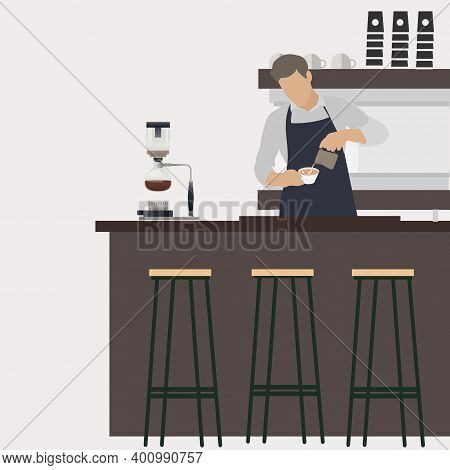 Barista At Workplace Makes Coffee. Vector Barista Man In Restaurant, Man Works In Cafe, Cafeteria In