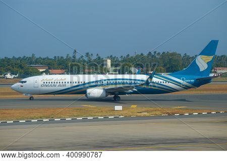 Colombo, Sri Lanka - February 24, 2020: Boeing 737-91М (А4О-bt) Of Oman Air Airline On The Taxiway O