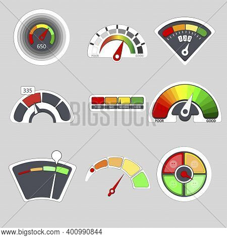 Meter Score, Credit Scale Gauge, Level Measure Colored Indicator. Vector Indicate Level, Credit Sati