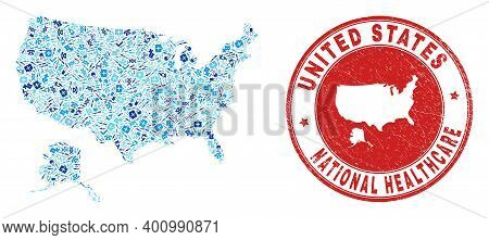 Vector Collage Usa With Alaska Map With Vaccination Icons, Laboratory Symbols, And Grunge Health Car