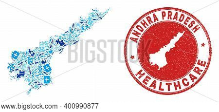 Vector Collage Andhra Pradesh State Map With Dose Icons, First Aid Symbols, And Grunge Health Care S
