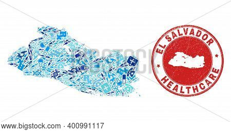 Vector Mosaic El Salvador Map With Treatment Icons, Test Symbols, And Grunge Healthcare Rubber Imita