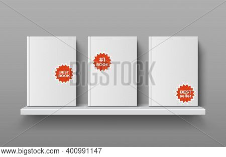 Realistic Bookshelf With Books. 3d Textbooks In Blank Hard Cover With Bright Stickers. Publications