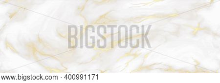 Marble Background. White And Gold Colors, Decorative Stone Material, Luxury Golden Texture Design Fo