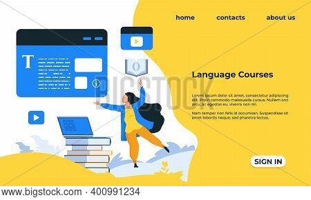 Language Courses Landing Page. Web Service For Learning Grammar And Pronunciation Of Foreign Words.