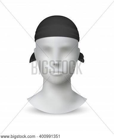 Realistic Black Bandana. Textile Headwear On 3d White Minimalistic Mannequin. Modern Unisex Accessor
